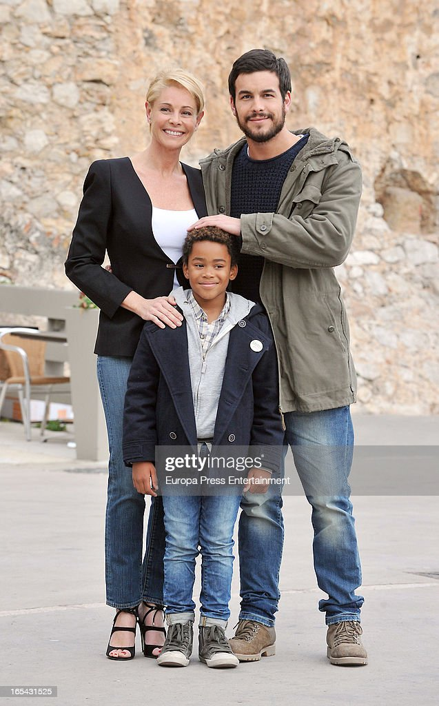 Belen Rueda, Mario Casas and Larsson do Amaral (C) are seen on the set of their latest film 'Ismael' on March 25, 2013 in Barcelona, Spain.