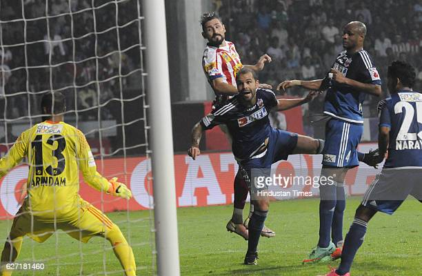 Belencoso of ATK is trying to score against Pune City Fc during ISL match at Rabindra Sarobar stadium on December 2 2016 in Kolkata India