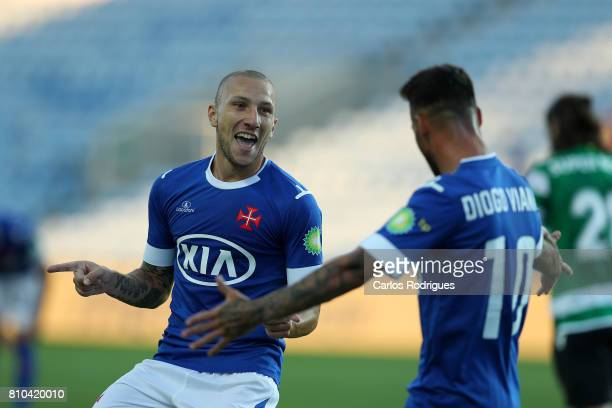 Belenenses midfielder Andre Sousa from Portugal celebrates scoring Belenenses goal during the PreSeason Friendly match between Sporting CP and CF's...
