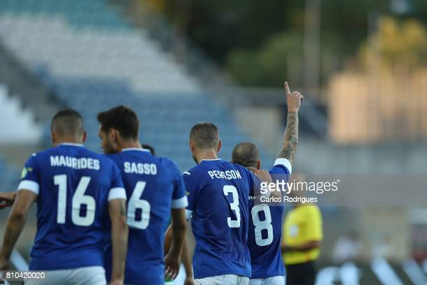 Belenenses midfielder Andre Sousa from Portugal celebrates scoring Belenenses goal with his team mates during the PreSeason Friendly match between...