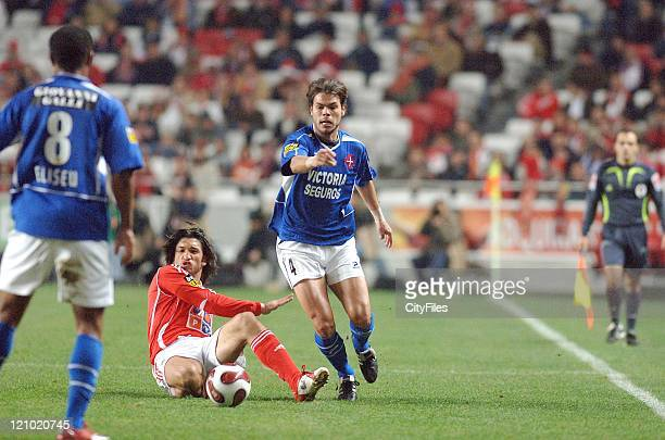 Belenenses' Rodrigo Alvim and Benfica's Kikin in action during their Portuguese Bwin League match December 21 2006 in Lisbon Portugal