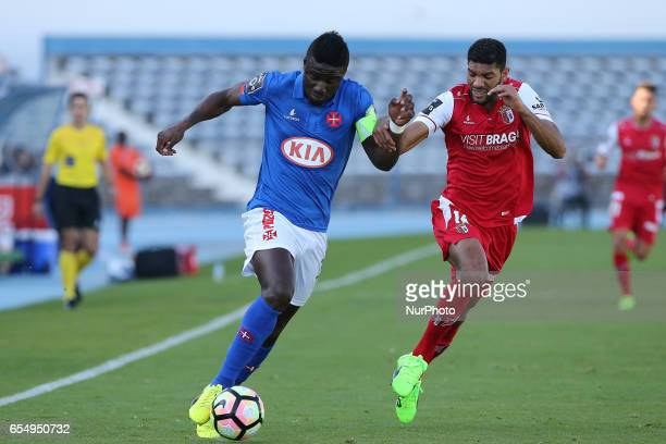 Belenensess forward Abel Camara from Portugal and Bragas defender Djavan from Brazil during Premier League 2016/17 match between Os Belenenses and SC...
