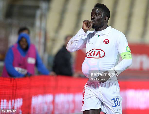 Belenenses's forward Abel Camara from Portugal celebrates after scoring a goal during the Primeira Liga match between GD Estoril Praia and CF Os...