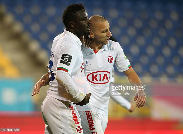 Belenenses's forward Abel Camara from Portugal celebrates with teammate Belenenses's midfielder Andre Sousa from Portugal after scoring a goal during...
