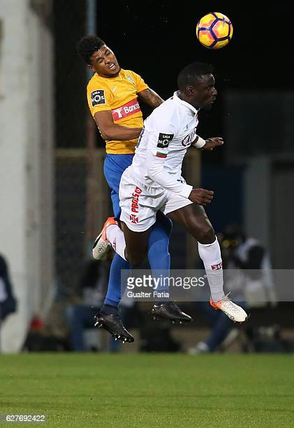 Belenenses's forward Abel Camara from Portugal with Estoril's defender Ailton Silva from Brazil in action during the Primeira Liga match between GD...