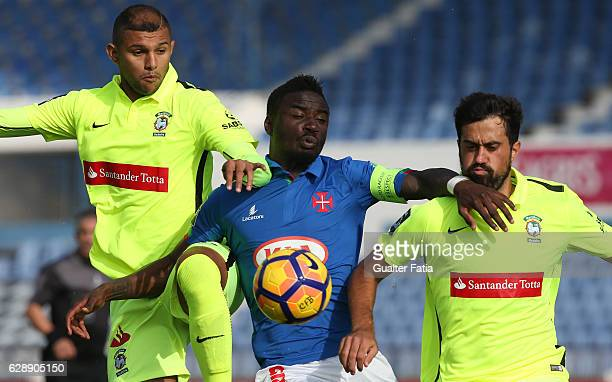 Belenenses's forward Abel Camara from Portugal with CS Maritimo's defender Raul Michel from Brazil and CS Maritimo's defender Mauricio Carvalho from...