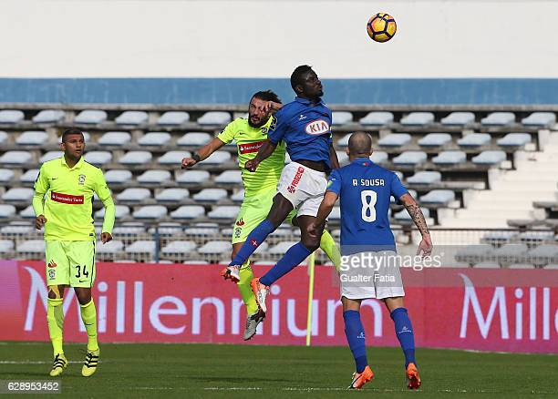 Belenenses's forward Abel Camara from Portugal with CS Maritimo's midfielder Erdem Sen from Turkuey in action during the Primeira Liga match between...
