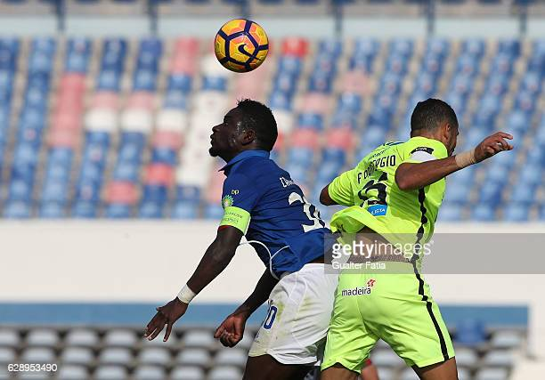 Belenenses's forward Abel Camara from Portugal with CS Maritimo's midfielder Fransergio from Brazil in action during the Primeira Liga match between...