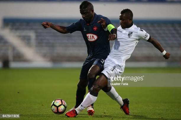 Belenenses's forward Abel Camara from Portugal with Vitoria GuimaraesÕ defender Ghislain Konan in action during the Primeira Liga match between...