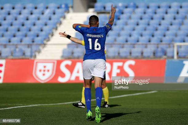 Belenensess forward Maurides Roque from Brazil celebrating after scoring a goal during Premier League 2016/17 match between Os Belenenses and SC...