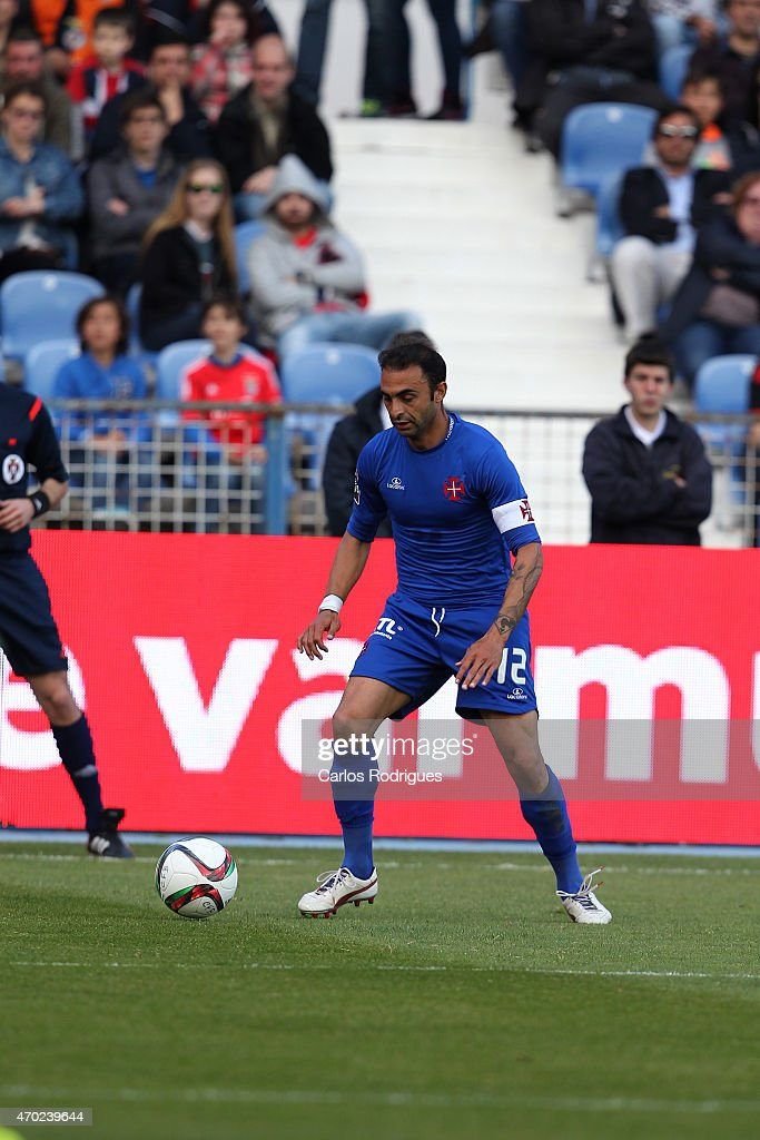 Belenenses's midfielder <a gi-track='captionPersonalityLinkClicked' href=/galleries/search?phrase=Carlos+Martins&family=editorial&specificpeople=685923 ng-click='$event.stopPropagation()'>Carlos Martins</a> during the Primeira Liga match between Belenenses and Benfica at Estadio do Restelo on April 18, 2015 in Lisbon, Portugal.
