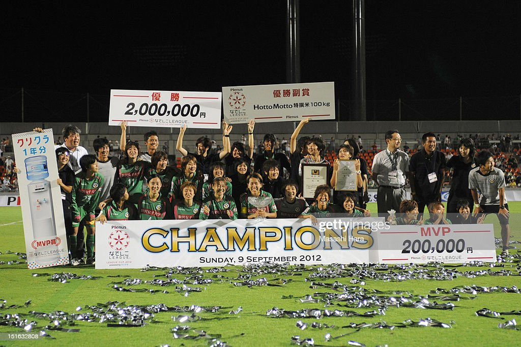 NTV Beleza players pose for photographs after the Nadeshiko League Cup Final match between NTV Beleza and INAC Kobe Leonessa at NACK 5 Stadium Omiya on September 9, 2012 in Saitama, Japan.