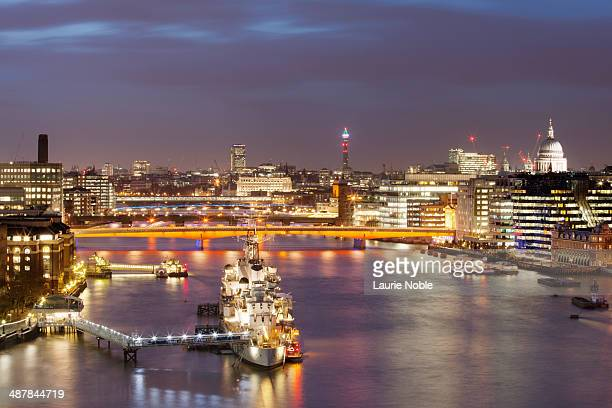 HMS Belfast and the River Thames at night, London