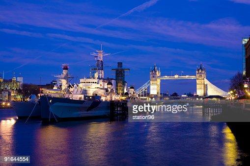 HMS Belfast and Tower Bridge, London
