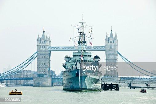 HMS Belfast battle ship on Thames river