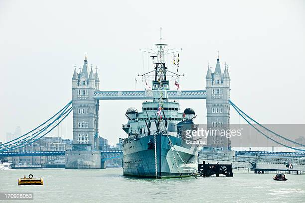 HMS Belfast battle ship on Thames river