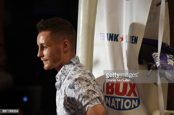 Belfast boxer and new world champion Ryan Burnett watches the Battle of Belfast boxing bill at the Waterfront Hall on June 17 2017 in Belfast...
