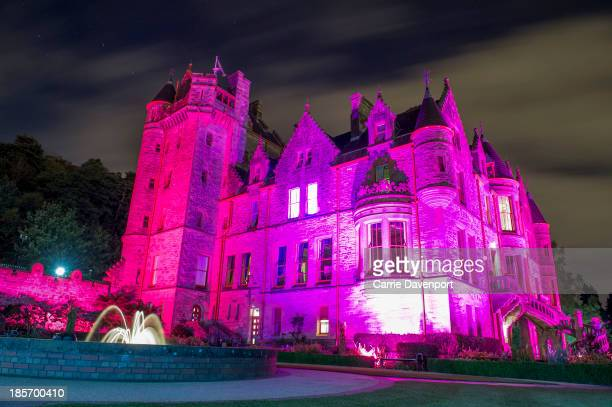 Belfast Castle turns pink in the lead up to Breast Cancer Campaign's wear it pink on October 23 on October 23 2013 in Belfast Northern Ireland