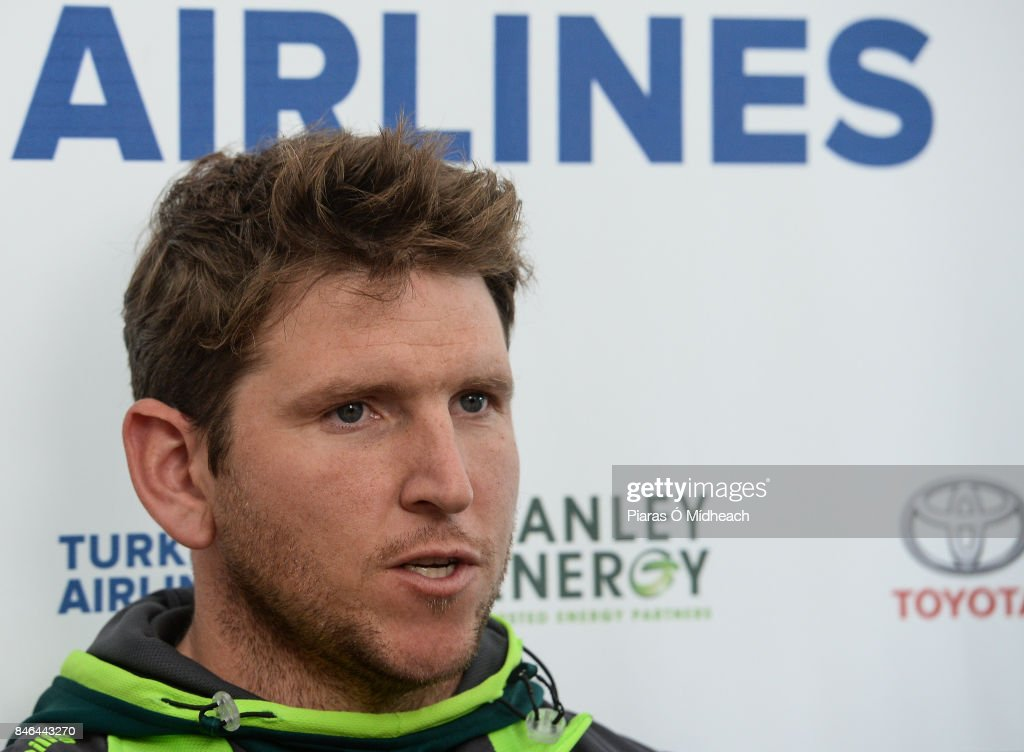 Belfast , Ireland - 13 September 2017; Gary Wilson of Ireland is interviewed after the One Day International match between Ireland and West Indies was cancelled due to a wet pitch at Stormont in Belfast.