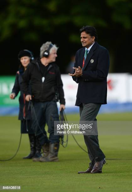 Belfast Ireland 13 September 2017 Match Referee Javagal Srinath inspects the pitch before the One Day International match between Ireland and West...