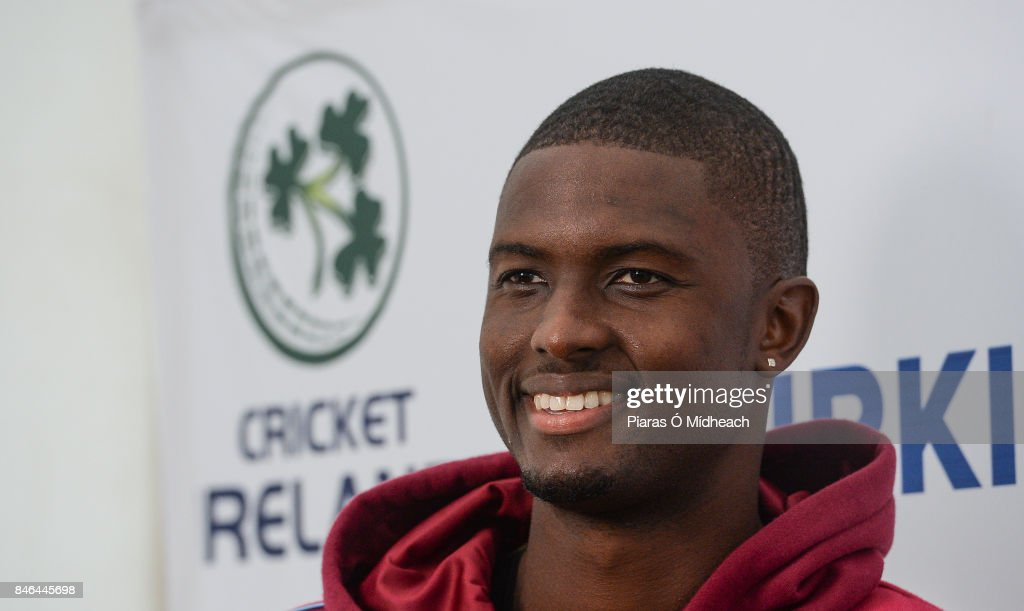 Belfast , Ireland - 13 September 2017; West Indies captain Jason Holder is interviewed after the One Day International match between Ireland and West Indies was cancelled due to a wet pitch at Stormont in Belfast.