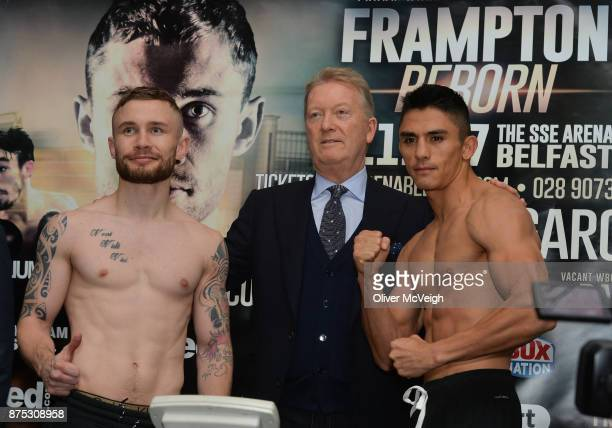 Belfast Ireland 17 November 2017 Carl Frampton and Horacio Garcia during the weighin along with Promoter Frank Warren ahead of their Featherweight...