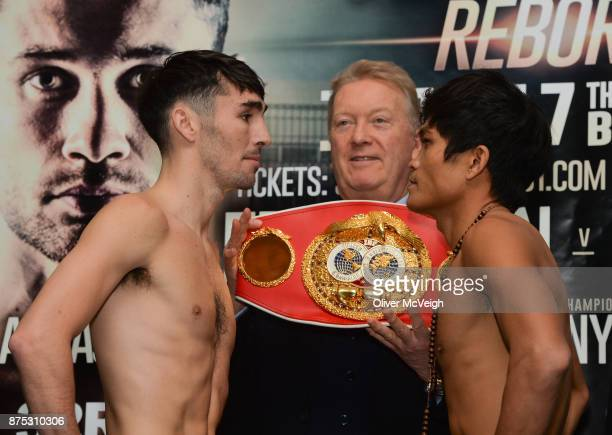 Belfast Ireland 17 November 2017 Jamie Conlan and Jerwin Ancajas along with Promoter Frank Warren during the weighin ahead of their IBF World Super...