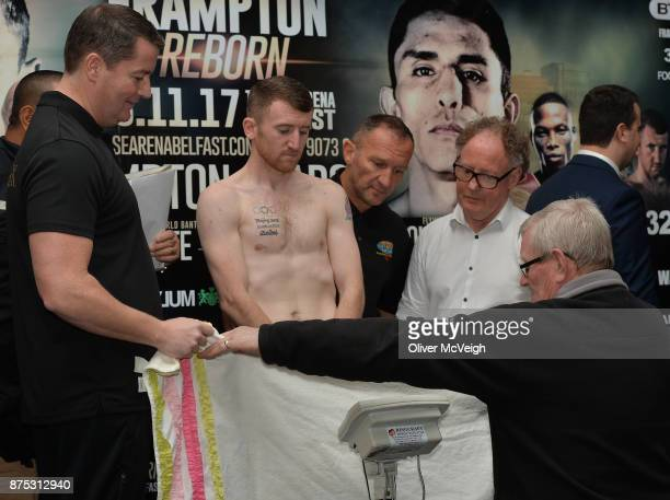 Belfast Ireland 17 November 2017 Paddy Barnes is shielded during the weighin ahead of his vacant WBO intercontinental flyweight bout with Eliecer...