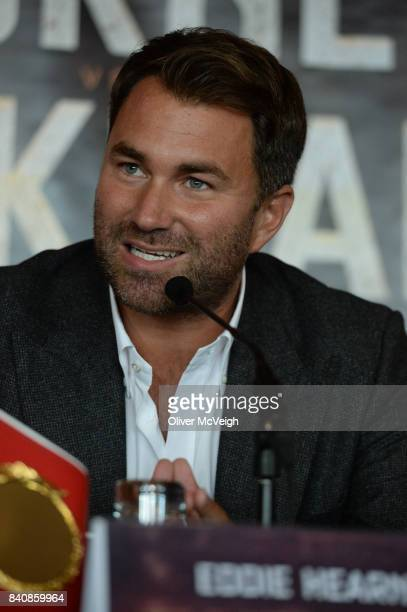 Belfast Ireland 30 August 2017 Promoter Eddie Hearn during a press conference ahead of the World Bantamweight Unification title fight at the Europa...