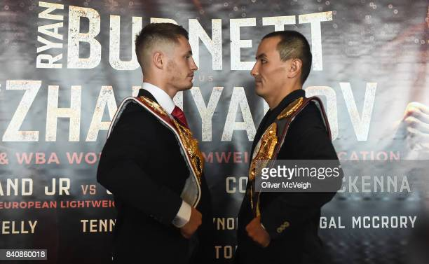 Belfast Ireland 30 August 2017 Ryan Burnett left and Zhanat Zhakiyanov during a press conference ahead of their World Bantamweight Unification title...