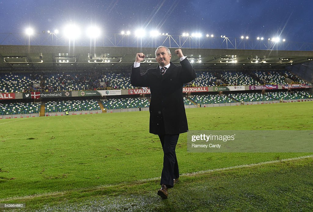 Belfast , Ireland - 30 June 2016; Cork City manager John Caulfield celebrates following his side's victory in the UEFA Europa League First Qualifying Round 1st Leg game between Linfield and Cork City at Windsor Park in Belfast.