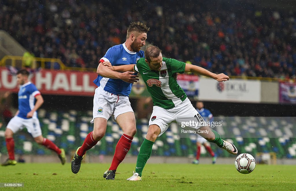 Belfast , Ireland - 30 June 2016; Karl Sheppard of Cork City in action against Mark Stafford of Linfieldduring the UEFA Europa League First Qualifying Round 1st Leg game between Linfield and Cork City at Windsor Park in Belfast.