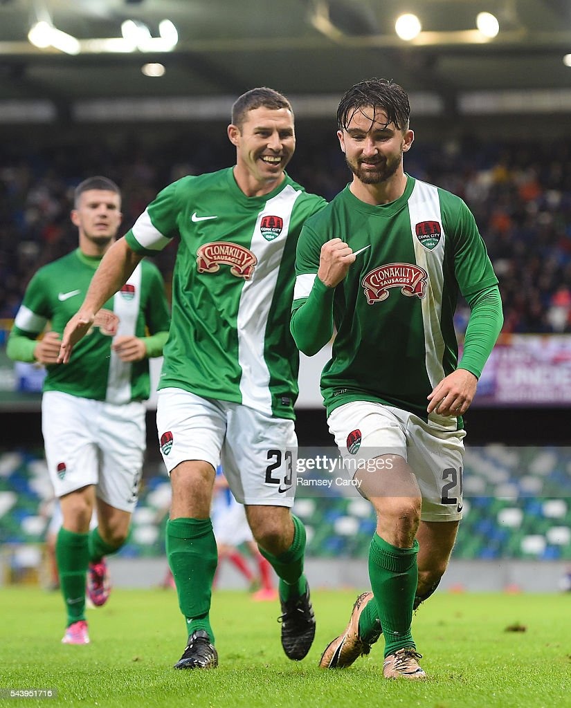 Belfast , Ireland - 30 June 2016; Sean Maguire, right, of Cork City celebrates with team-mate Mark OSullivan after scoring his side's first goal of the game during the UEFA Europa League First Qualifying Round 1st Leg game between Linfield and Cork City at Windsor Park in Belfast.