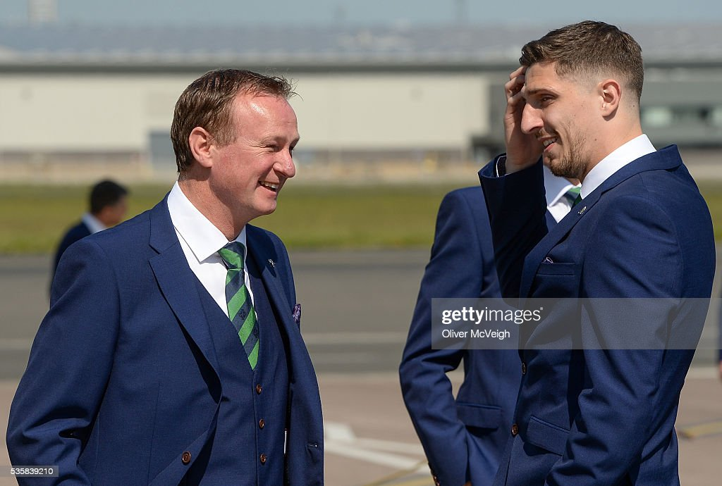Belfast , Ireland - 30 May 2016; Northern Ireland manager <a gi-track='captionPersonalityLinkClicked' href=/galleries/search?phrase=Michael+O%27Neill+-+Soccer+Coach&family=editorial&specificpeople=15096916 ng-click='$event.stopPropagation()'>Michael O'Neill</a> along with Craig Cathcart as the squad depart for EURO2016 from George Best City Airport, Belfast.