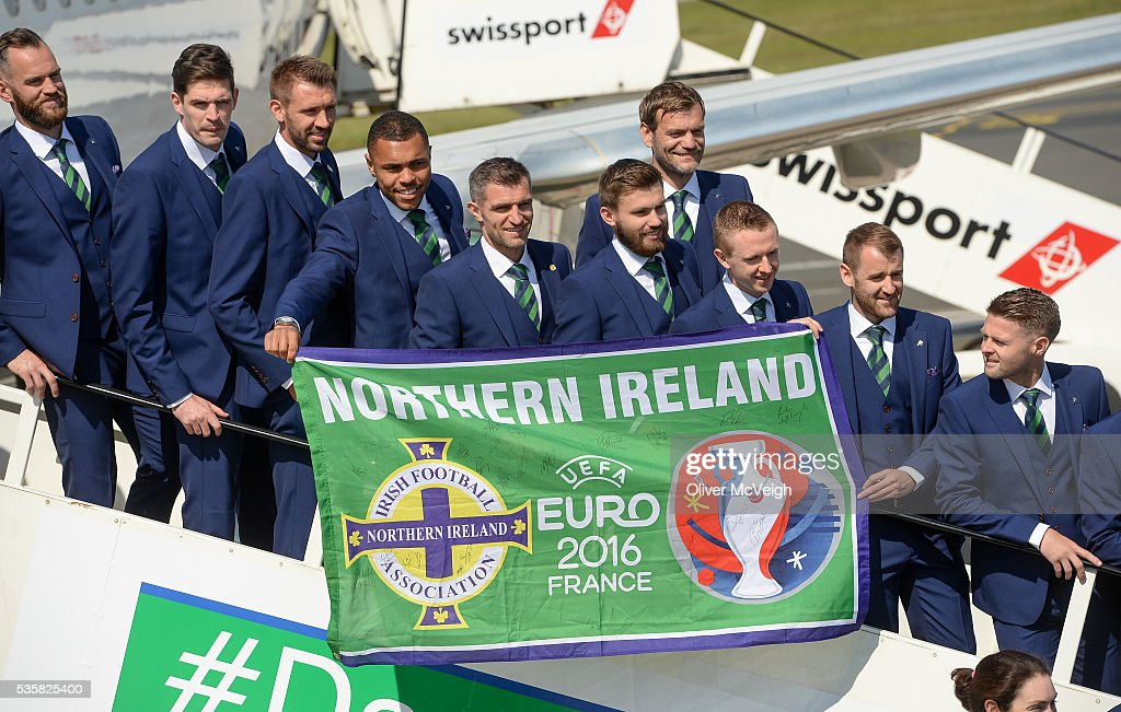 Belfast , Ireland - 30 May 2016; The Northern Ireland squad as it departs for EURO2016 from George Best City Airport, Belfast.