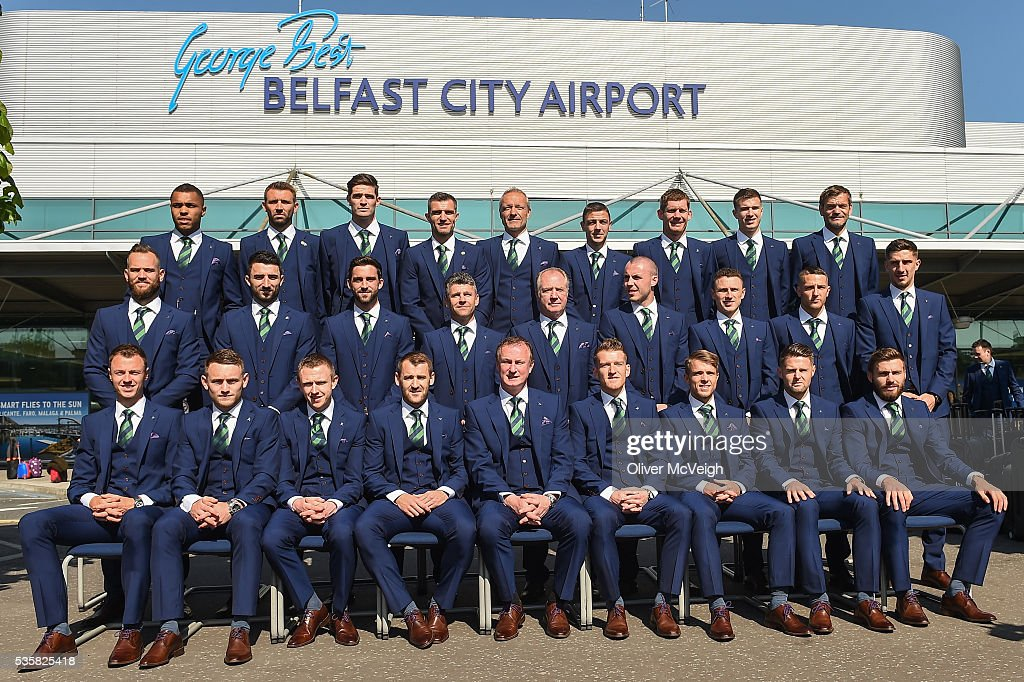 Belfast , Ireland - 30 May 2016; The Northern Ireland squad pose for a picture outside the airport before departing for EURO2016 from George Best City Airport, Belfast.