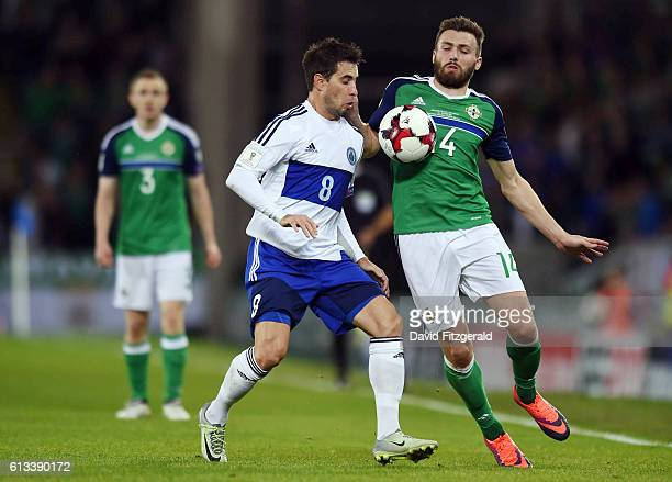 Belfast Ireland 8 October 2016 Stuart Dallas of Northern Ireland in action against Jose Hirsch of San Marino during the FIFA World Cup Group C...