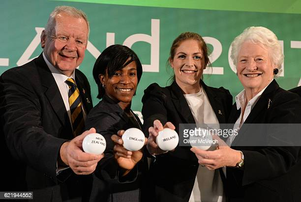 Belfast Ireland 9 November 2016 World Rugby Chairman Bill Beaumont from left Englands WRWC 2014 winner Maggie Alphonsi former Ireland captain and...