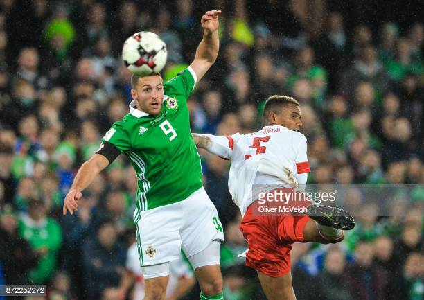 Belfast Ireland 9 November 2017 Conor Washington of Northern Ireland in action against Manuel Akanji of Switzerland during the FIFA 2018 World Cup...