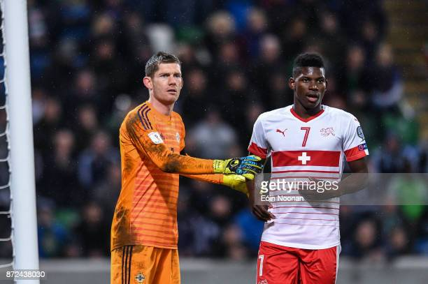 Belfast Ireland 9 November 2017 Michael McGovern of Northern Ireland in action against Breel Embolo of Switzerland during the FIFA 2018 World Cup...