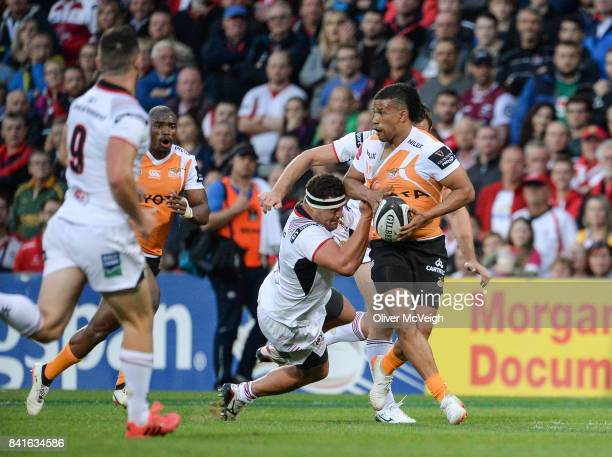 Belfast United Kingdom 1 September 2017 Clayton Blommetjies of Cheetahs is tackled by Rob Herring of Ulster during the Guinness PRO14 Round 1 match...