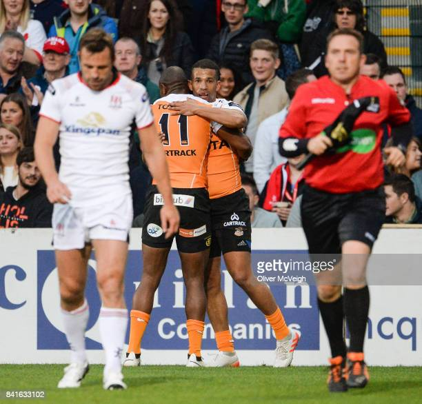 Belfast United Kingdom 1 September 2017 Clayton Blommetjies of Cheetahs celebrates with Makazole Mapimpi of Cheetahs after scoring his side's first...