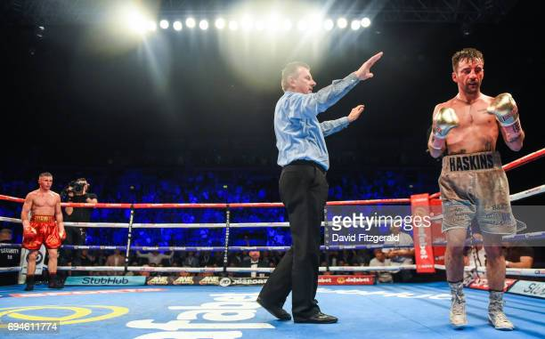 Belfast United Kingdom 10 June 2017 Lee Haskins is counted out but gets up in the 11th round after being knocked down by Ryan Burnett during their...