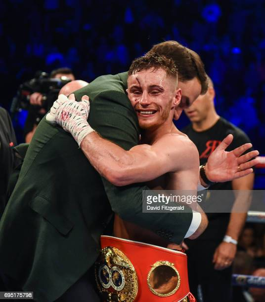 Belfast United Kingdom 10 June 2017 Ryan Burnett right celebrates his victory with Matchroom Boxing promoter Eddie Hearn following his victory over...
