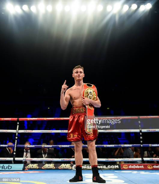Belfast United Kingdom 10 June 2017 Ryan Burnett right celebrates following his victory over Lee Haskins in their IBF World Bantamweight Championship...