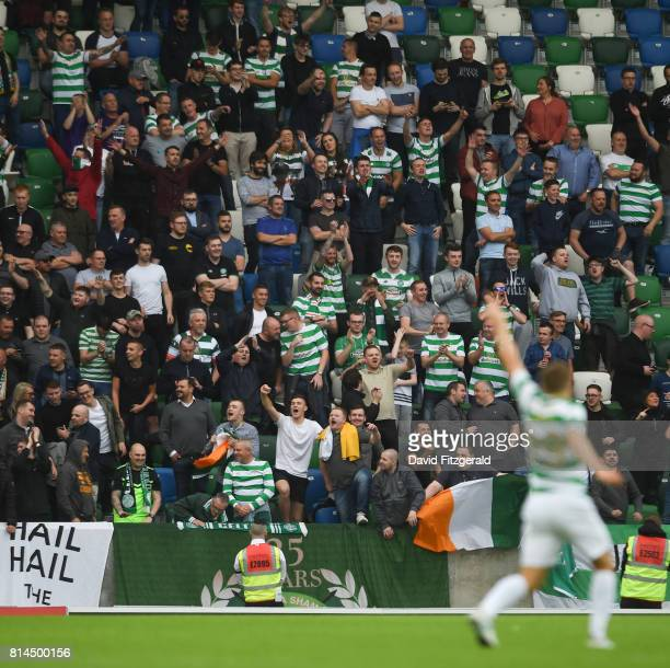Belfast United Kingdom 14 July 2017 Celtic fans celebrate during the UEFA Champions League Second Qualifying Round First Leg match between Linfield...