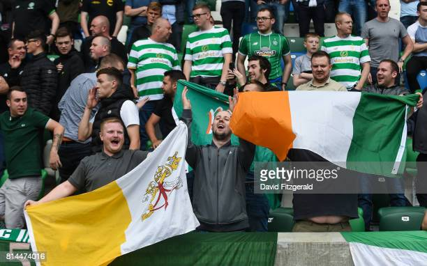 Belfast United Kingdom 14 July 2017 Celtic supporters ahead of the UEFA Champions League Second Qualifying Round First Leg match between Linfield and...