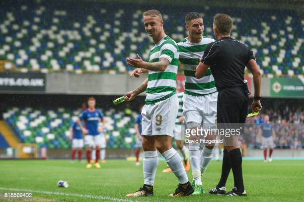Belfast United Kingdom 14 July 2017 Leigh Griffiths of Celtic is shown a yellow card after having missiles thrown at him during the UEFA Champions...
