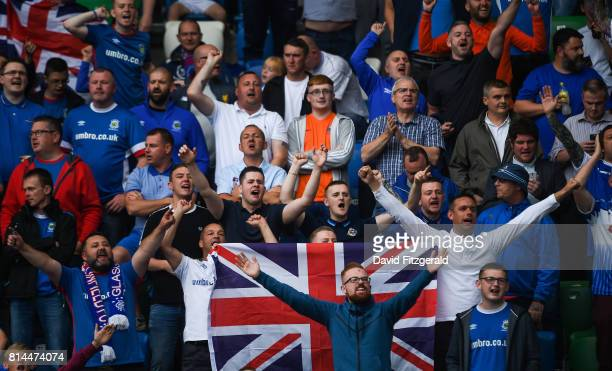 Belfast United Kingdom 14 July 2017 Linfield supporters ahead of the UEFA Champions League Second Qualifying Round First Leg match between Linfield...