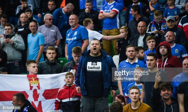 Belfast United Kingdom 14 July 2017 Linfield supporters during the UEFA Champions League Second Qualifying Round First Leg match between Linfield and...